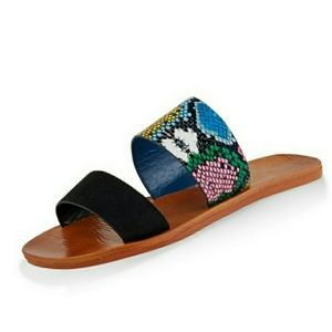 DOUBLE STRAP SYNTHETIC LEATHER BEACH SLIDERZ